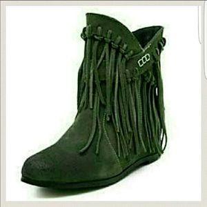 9aad7657af72 Green fringe booties BOHO ...